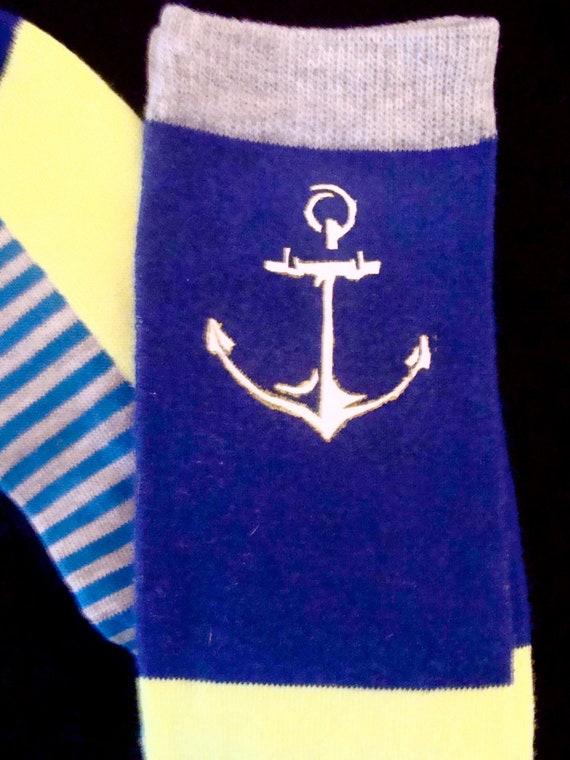 Striped Knee High Socks with Custom Anchor - Navy, White, Yellow, Grey