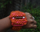 RESERVED Beyonce Knitted Bracelet, Wristband, Cuffs or Bangle Amber Silver Beads Orange Pink Wool Handmade Jewellery Ideal Gift