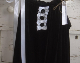 Upcycled Black Velvet Pillowcase Dress 2T/3T