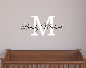 Boys Personalized Name Wall Decal - Monogrammed Vinyl Wall Lettering - Boys Room Decor - Teen Decor - Baby Nursery