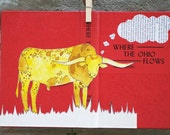 Balang. Longhorn. Original Artwork, Line Drawing, Watercolor, Collage, Vintage Book Cover Canvas in Poppy Red & Mustard Yellow