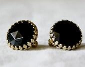 Vintage black clip on earrings.