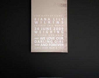 personalised birthdate keepsake CANVAS 75cmx100cm (Various sizes and colours)