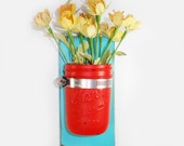 Sale- Wall Flower Vase- Island Aqua - Flirty Red Painted Jar- Cottage Chic- French Chic- Shabby- Country Decor- Choose From Many Colors