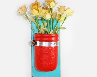 Wall Flower Vase- Island Aqua - Flirty Red Painted Jar- Cottage Chic- French Chic- Shabby- Country Decor- Choose From Many Colors