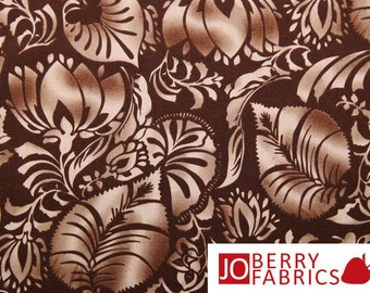 Sculptured Leaves on Brown, Color Program by Fabri-Quilt