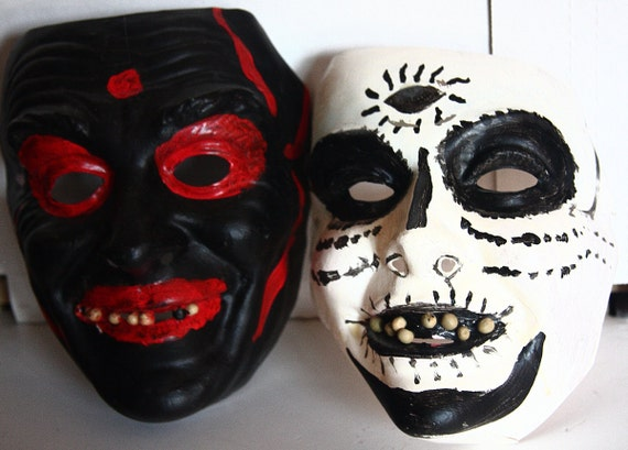 Two Day Of The Dead (Dia de los Muertos) Masks from Mexico - NOW ON SALE