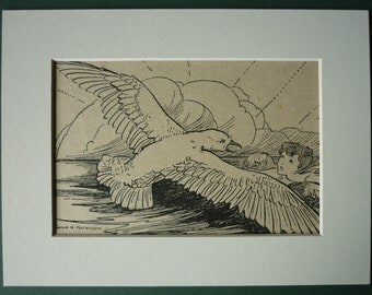 Vintage Water Babies Print  - fairies - seagull - clouds - bird - fantasy - magical - fairy tale - Charles Kingsley