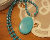 Chalk Turquoise and Silver beaded Women or teen necklace