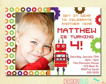Puppy dog birthday invitation boys doggy with argyle boys robot birthday invitation birthday party printable invite 3rd 4th 5th 6th birthday diy stopboris Image collections