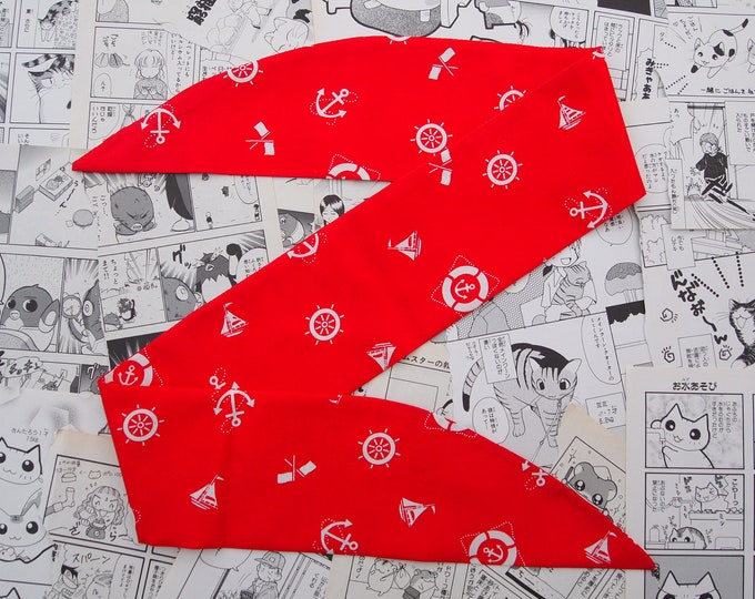 Red Nautical Rockabilly Head Scarf With or Without Wire - Anchor Sailor 1950s Bandana Hair Tie Navy Pin Up Girl Vintage