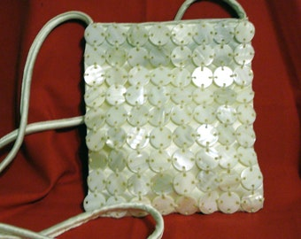 Clearance White satin evening bag Mother of Pearl discs shoulder strap Jeanne Lottie unused vintage prom perfect