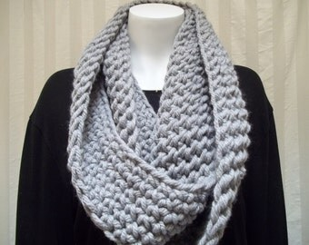 Chunky Infinity Scarf Cowl Eternity Circle Loop Fashion Crochet Gray