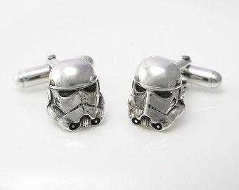 Sterling silver Storm Trooper cufflinks.