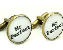Mr Perfect - Cufflinks Keepsake Gift  for Him WHITE Antique Gold Gift Box