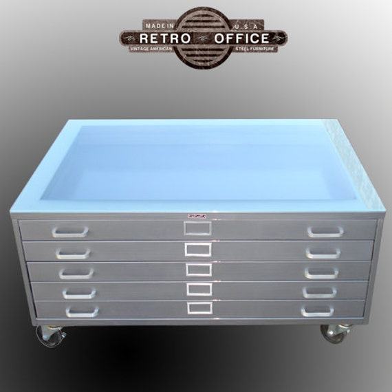 Items Similar To Vintage Steel Flat File Coffee Table Fully Restored With Castors Glass On Etsy