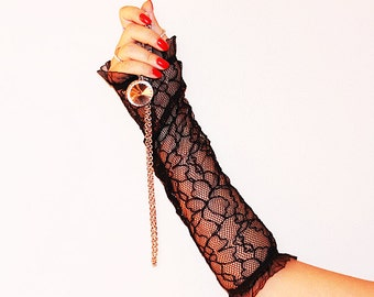 delicate black lace fingerless gloves pattern-Black lace gloves long -Wedding Accessory-Delicate Gloves-Bridal accessory, Fingerless Gloves