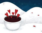 5x7 Illustrated Holiday Postcard - Christmas Card - New Years Card - Drink Up, I'll Listen