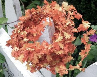 Miniature Autumn Fall oak leaf artificial wired garland fairy garden accessories wedding decoration craft supply  leaf scrapbook supplies