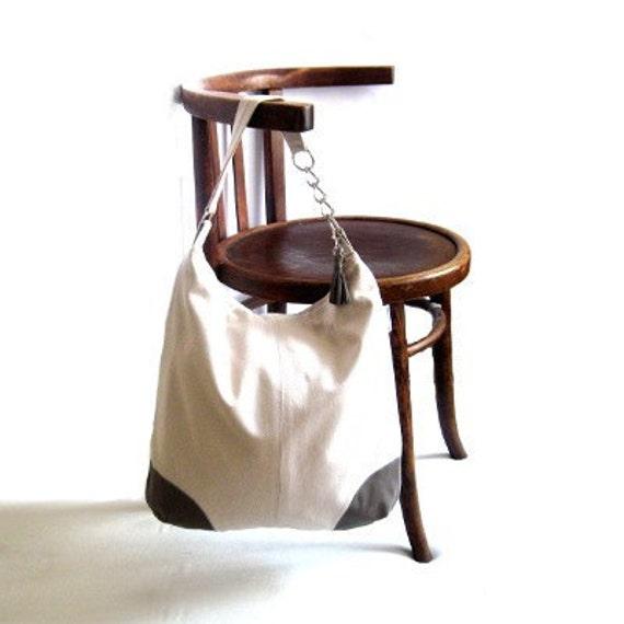 Tote bag purse large tote bag leather canvas shoulder bag grey gray beige leather tassel bling