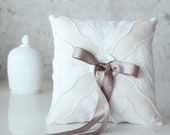 Ring Bearer Pillow, Lacy Ivory, vintage lace handkerchief and French gray ribbon