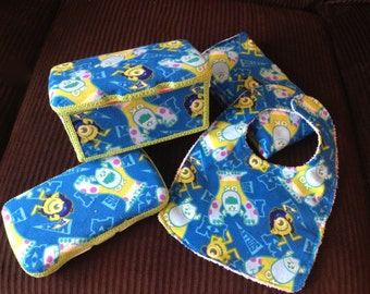 Baby Gift Set (Large Wipe Tub, Travel Wipe case, Bib and Burp Cloth) - Monsters University Fabric