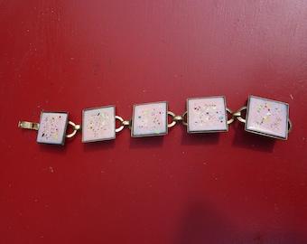 Vintage Pink Speckle Tile Enamel Bracelet