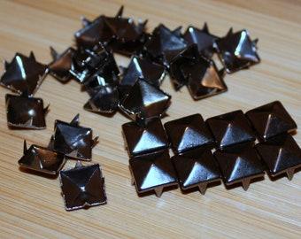 100pcs 9mm Gun-Black Pyramid Studs Rivet Buttons Punk Cloth Accessories