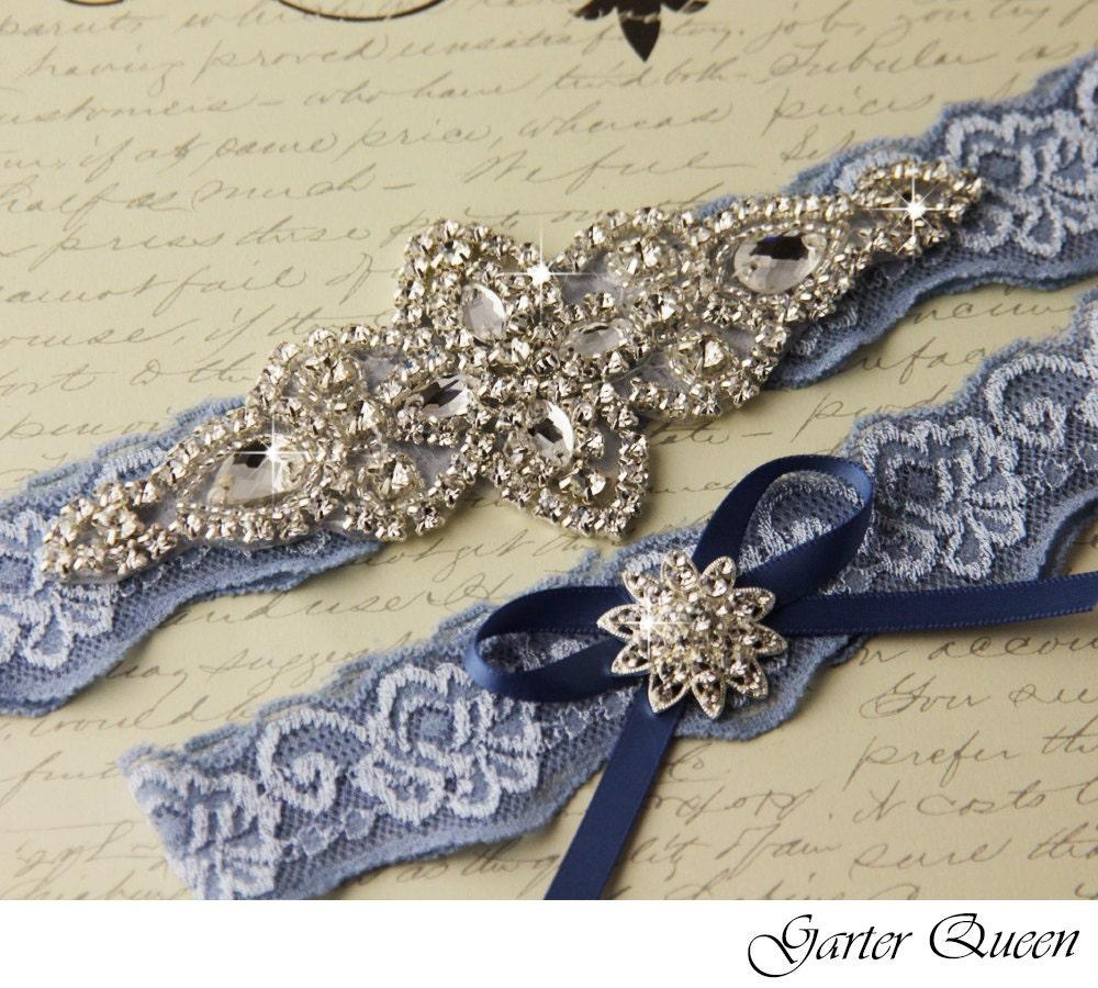 Wedding Garter Set Bridal Garter Something Blue Stretch Lace