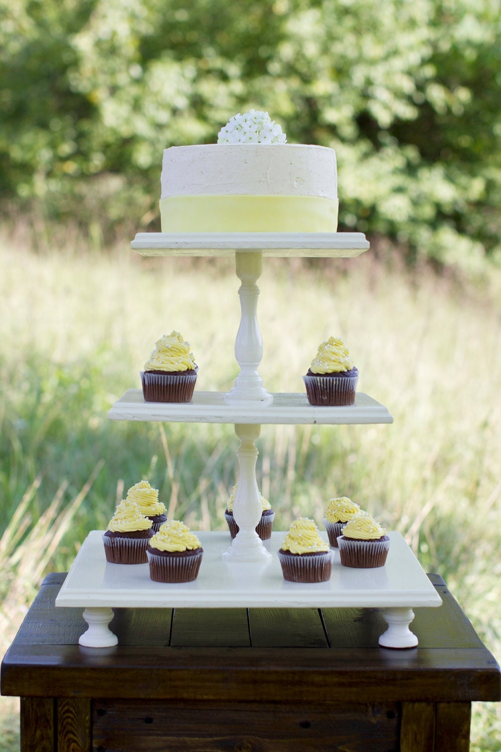 Wooden Tiered Stand ~ Three tiered square wooden cupcake stand color of your