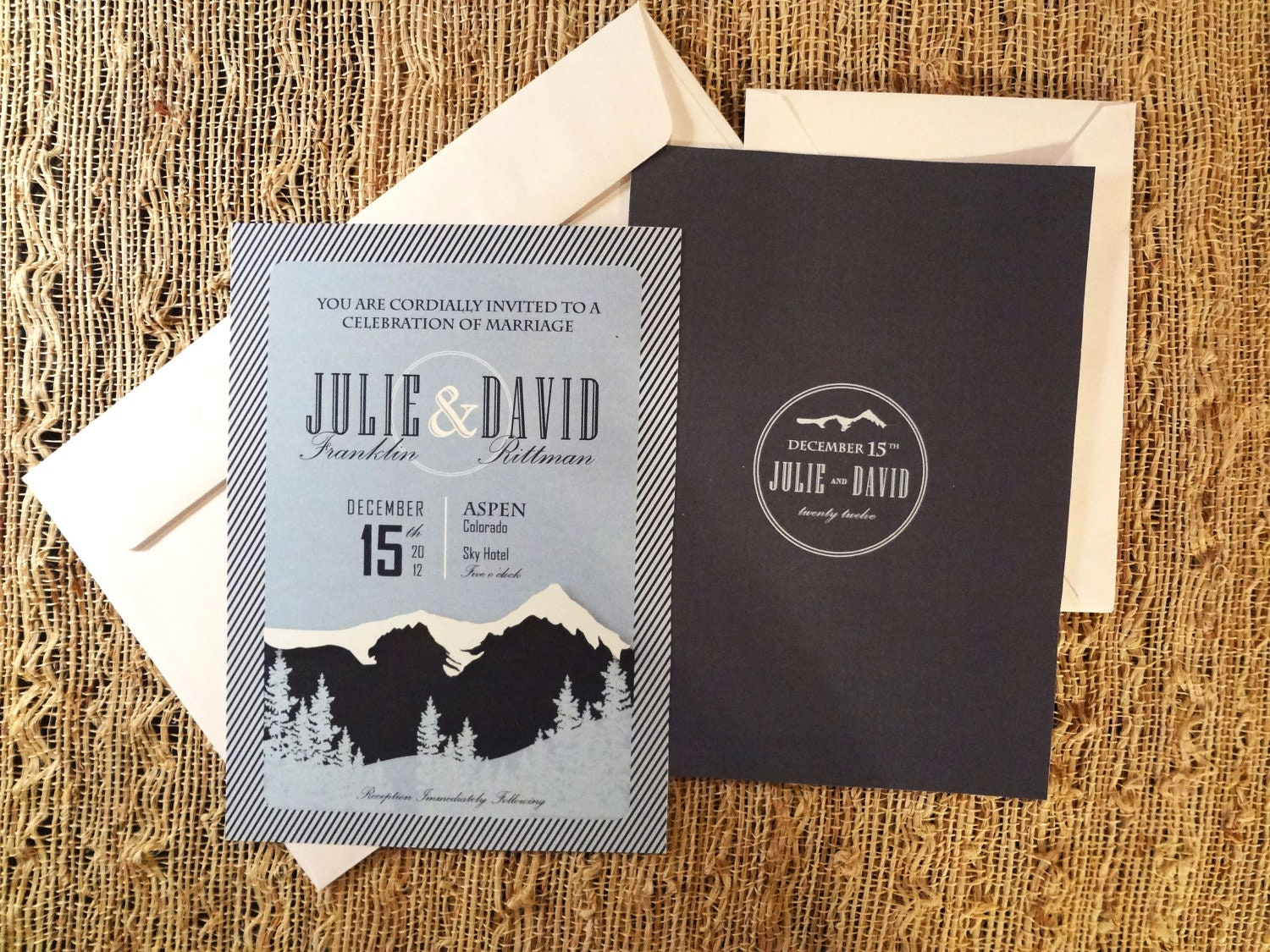 Wedding Invitation Custom Design: Mountain Wedding Invitation Modern Custom Design