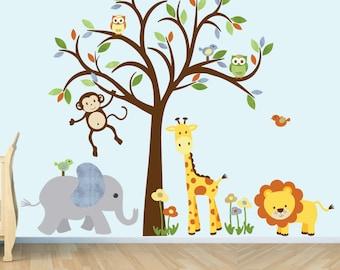 Wall Decal, Jungle Animal sticker, nursery decor, giraffe decal, elephant wall sticker, neutral Design