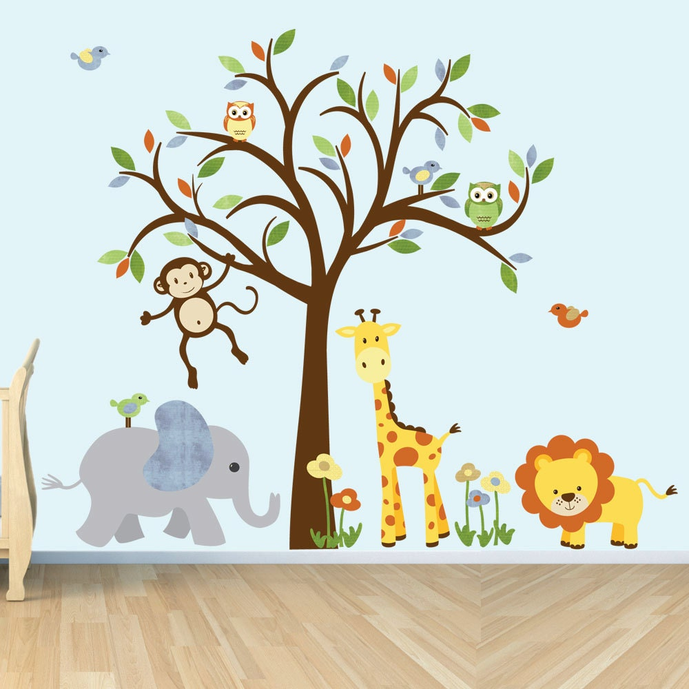 Safari animal wall stickers fabric wall decals jungle for Animal wall mural