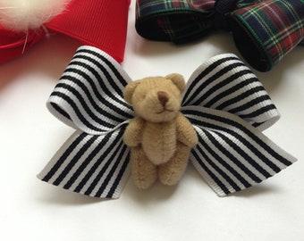 Girl Teddy Bear Bow - Black and White Stripe - 3 Inch Non Slip Alligator Clip