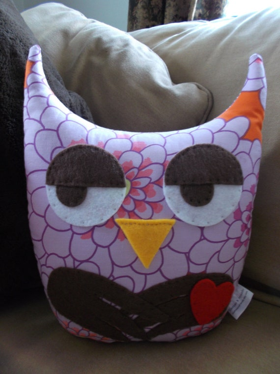 Agnes Home Decor- Stuffed Hootie Owl Pillow Plush Toy in Lavender Orange Floral Design and Lavender Dot Backing