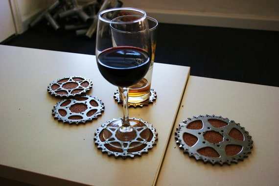 Bicycle Gear Cog Coasters, Set of 4 hand carved cork coasters