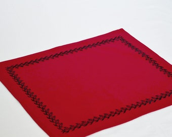 Red cotton placemats with jet black embroidery Handmade floral mats Cloth place mat Wedding Placemats Housewarming  gift table