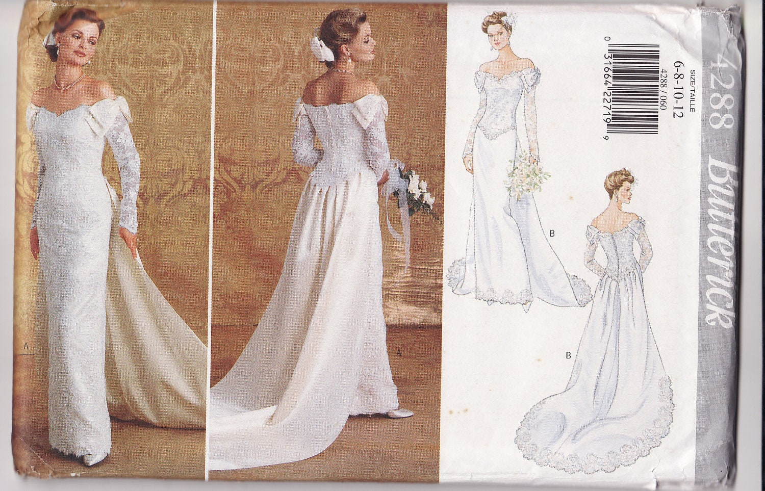 WEDDING DRESS PATTERN Butterick 4288 Bridal Gown With