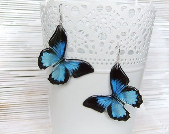 Resin Earrings Transparent Earrings Blue  Earrings Blue Black Earrings Butterflies Earrings Nature Jewelry Epoxy Resin Jewelry Gift for Her