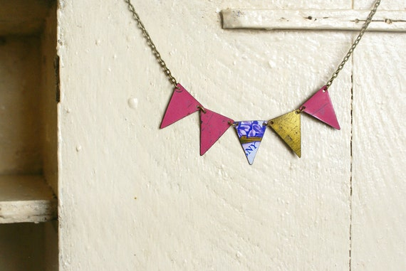 Recycled Tin Bunting Necklace
