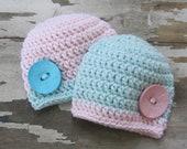 Twins Set Crochet Beanie Baby Girl Shower Gift Photography Prop
