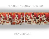 "Original Large Italian Cityscape Modern Acrylic Painting KSAVERA ""Dolce Aqcua"" 16x68 Abstract  Handmade Contemporary decor Lounge"