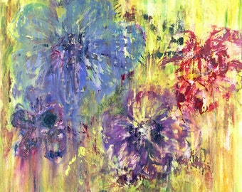 Giglee print, Garden Flowers 1. Wall art. Print of fine art painting.