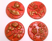 Vintage Red Plaster Chalk Flower Flowers Plaques Wall Hanging Seasons Fall Spring Summer Winter DIY