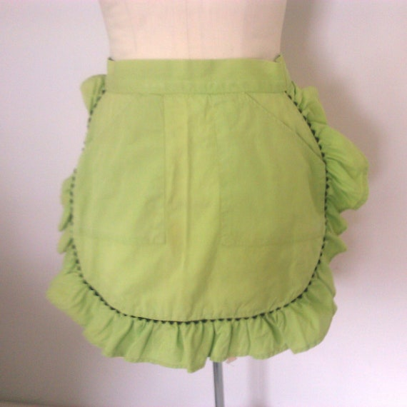 Lime Green Ruffled Half Apron with Black Rick Rack Detailing Rounded Bottom 2 Two Pockets