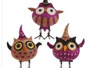 halloween, fall decor, owl, witch, bobble head, halloween decoration, wreath supply set of 3 resin owl, table decor