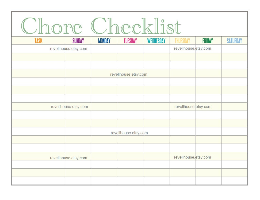 Blank To Do List Template Chore checklist - printable to