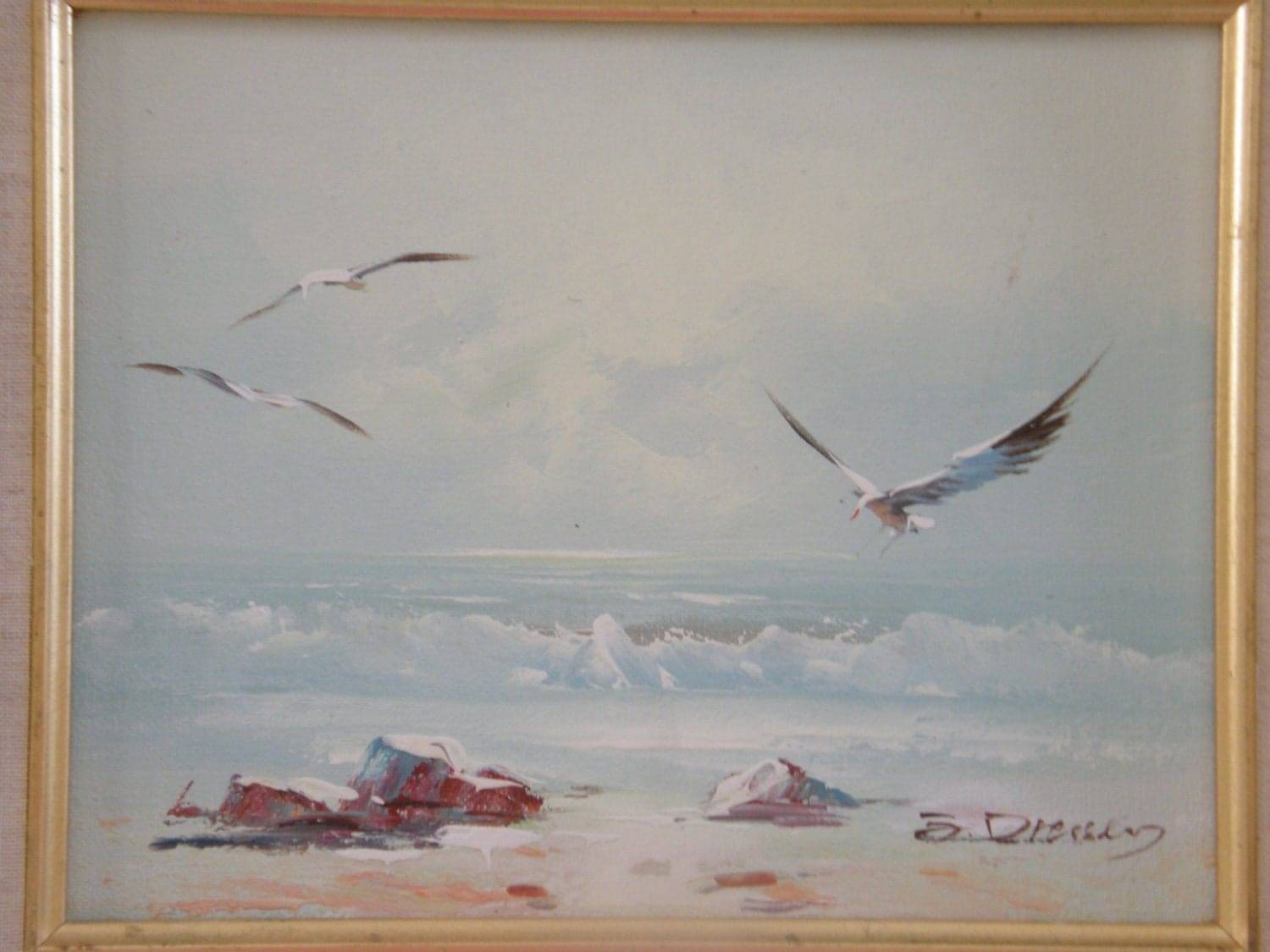 Vintage original oil painting on canvas birds sea scene for Mural on canvas