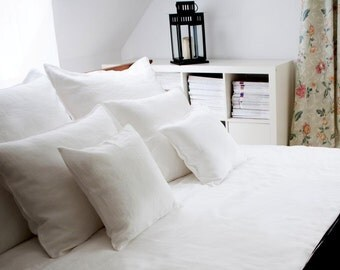 SALE  White Linen duvet cover and pillowcase Twin Size