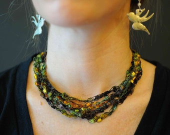 Crocheted Ladder Yarn Dazzle Necklace -Olive and Black